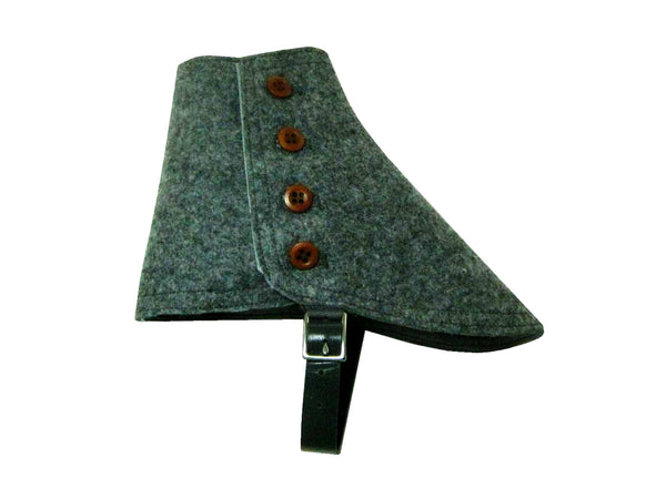 Heather Grey Wool Felt Spats - Fine and Dandy