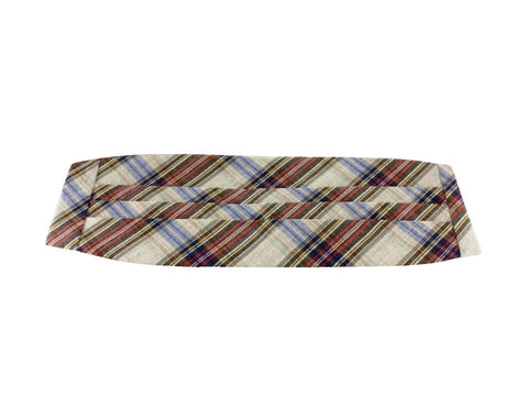 Brown Plaid Linen Cummerbund - Fine and Dandy