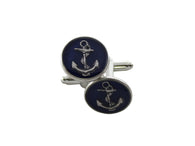 Silver & Navy Anchor Cufflinks - Fine and Dandy