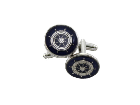 Silver & Navy Captain's Wheel Cufflinks - Fine and Dandy