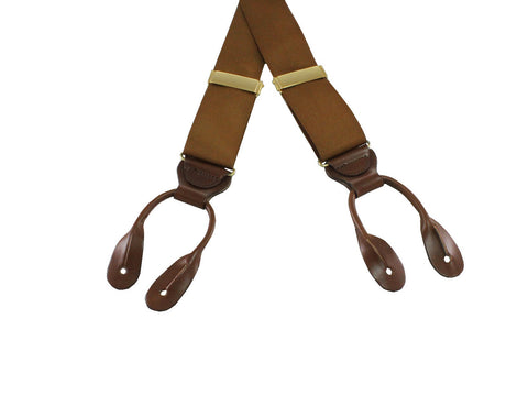 Brown Grosgrain Suspenders - Fine and Dandy
