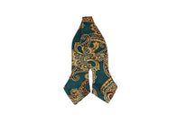 Emerald Paisley Silk Bow Tie - Fine And Dandy