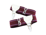 Burgundy Striped Sock Garters - Fine and Dandy