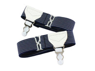 Navy Striped Sock Garters
