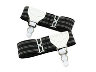 Single Grip Black Striped Sock Garters - Fine and Dandy