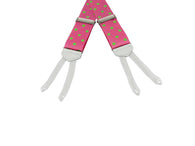 Pink Polka Dot Grosgrain Suspenders - Fine and Dandy