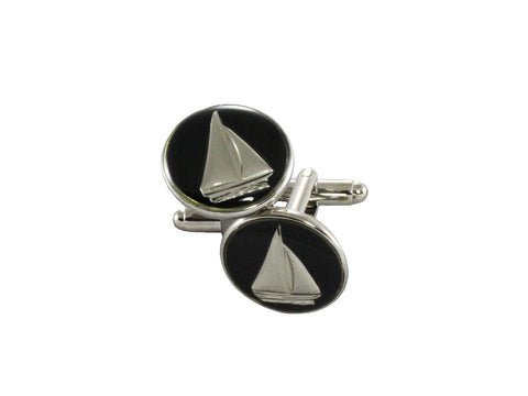 Silver & Navy Sailboats Cufflinks - Fine and Dandy