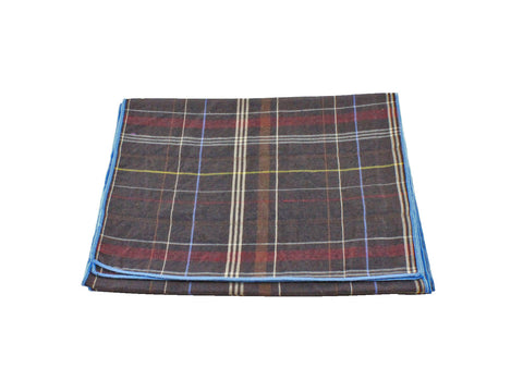 Brown Plaid Linen Scarf - Fine and Dandy