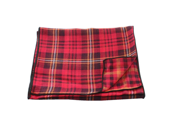 Red Plaid Double Sided Cotton Scarf - Fine and Dandy