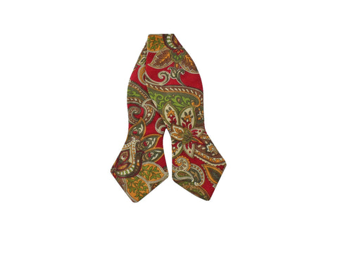 Red Paisley Cotton Bow Tie - Fine and Dandy