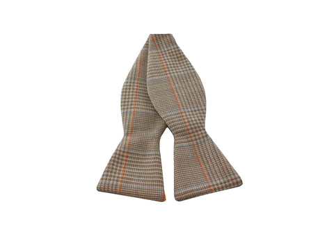 Tan Glen Plaid Wool Bow Tie - Fine and Dandy