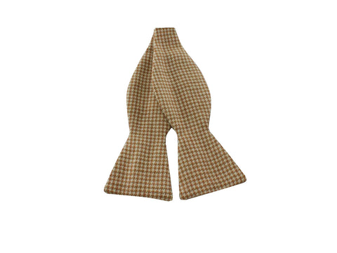 Taupe Houndstooth Wool Bow Tie - Fine and Dandy