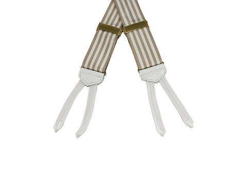 Tan Striped Grosgrain Suspenders - Fine and Dandy