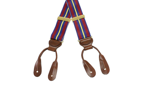 Burgundy Striped Grosgrain Suspenders - Fine and Dandy