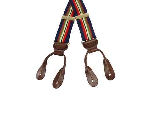 Navy Striped Grosgrain Suspenders