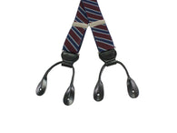 Burgundy Striped Elastic Suspenders - Fine and Dandy