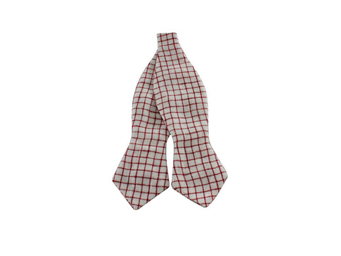 Red Check Linen Bow Tie - Fine and Dandy