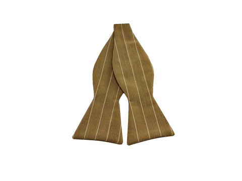 Camel Striped Wool Bow Tie - Fine and Dandy