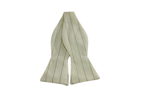 Ivory Striped Wool Bow Tie - Fine and Dandy