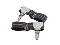 Grey & Burgundy Sock Garters - Fine and Dandy