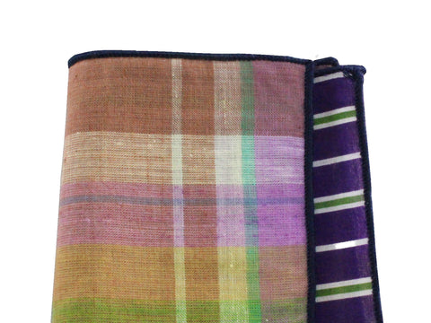 Purple Madras & Striped Panelled Pocket Square - Fine and Dandy