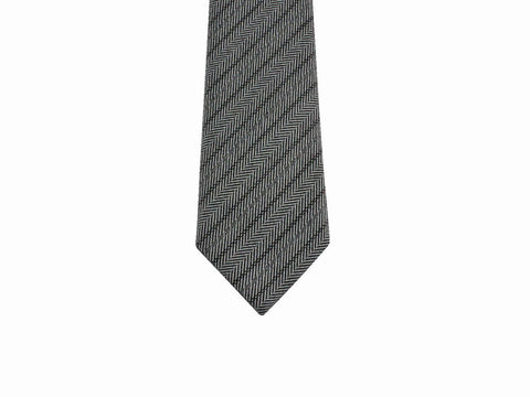 Grey Striped Herringbone Wool Tie - Fine and Dandy