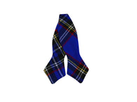 Royal Blue Tartan Wool Bow Tie - Fine and Dandy