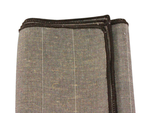 Sand Chalk Striped Linen Pocket Square - Fine and Dandy
