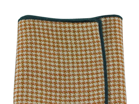 Taupe Houndstooth Wool Pocket Square - Fine and Dandy