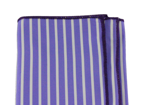 Periwinkle Striped Cotton Pocket Square - Fine and Dandy