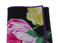 Large Floral Print Cotton Pocket Square