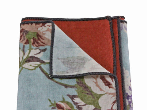 Floral Terra Cotta Panelled Pocket Square - Fine and Dandy