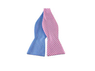 Pink Gingham Reversible Bow Tie - Fine and Dandy