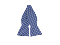 Blue Striped Cotton Bow Tie - Fine and Dandy