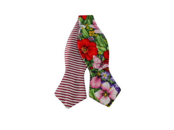 Floral & Stripes Reversible Bow Tie - Fine and Dandy