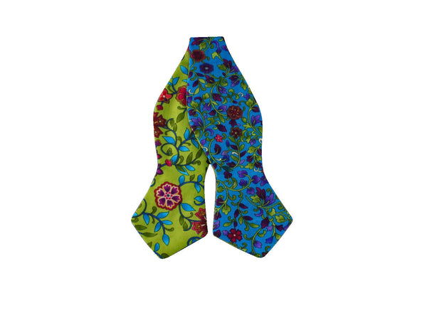 Teal & Lime Floral Reversible Bow Tie - Fine and Dandy