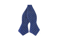Blue Polka Dot Linen Bow Tie - Fine and Dandy