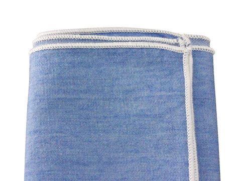 Blue Soft Chambray Pocket Square - Fine and Dandy