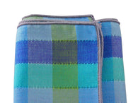 Teal Check Cotton Pocket Square - Fine and Dandy