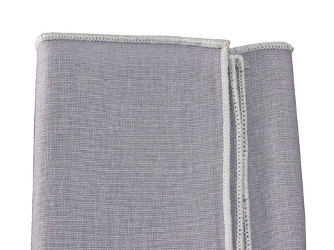 Grey Linen Blend Pocket Square - Fine and Dandy