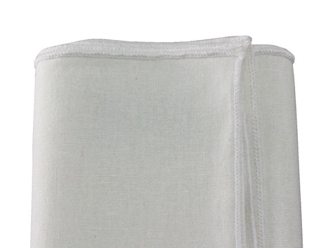White Linen Blend Pocket Square - Fine and Dandy