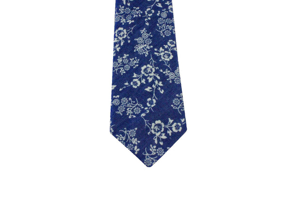 Washed Blue Floral Linen Tie - Fine and Dandy