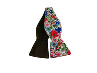 Floral Silk & Brown Velvet Reversible Bow Tie - Fine And Dandy