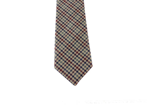 Tan Gun Check Wool Tie - Fine And Dandy