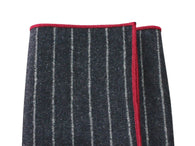 Black Chalk Striped Wool Pocket Square - Fine And Dandy