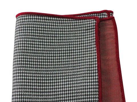 Houndstooth & Raw Silk Panelled Pocket Square - Fine And Dandy
