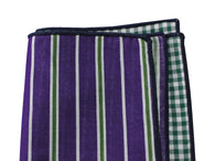 Purple Striped & Green Gingham Panelled Pocket Square - Fine And Dandy