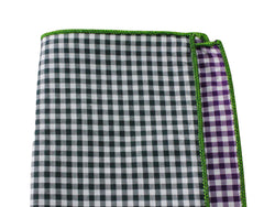 Black & Purple Gingham Panelled Pocket Square - Fine And Dandy