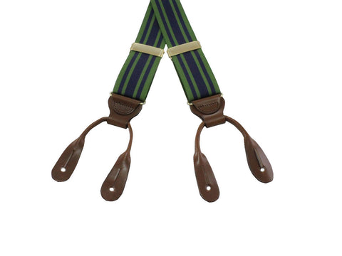 Green & Navy Grosgrain Suspenders - Fine and Dandy
