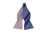 Blue & Pink Striped Reversible Bow Tie - Fine And Dandy